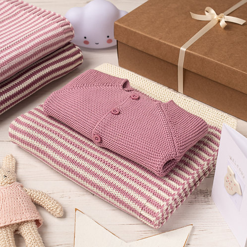 Dawn Pink and Cream Dainty Stripe Blanket & Cardigan Gift Set