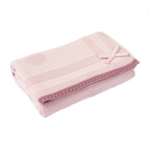 Petal Pink Spot & Bow Baby Blanket