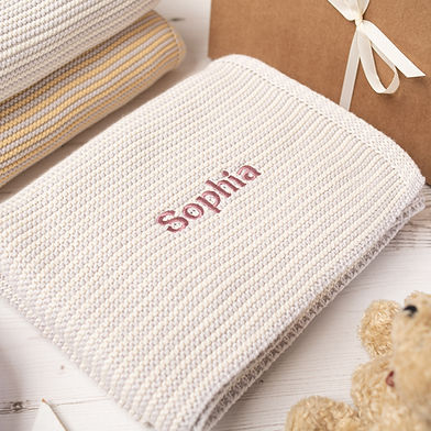 Toffee Moon Cream and Arctic Grey Mini Stripe Personalised Baby Blanket Gift.jpg.jpg