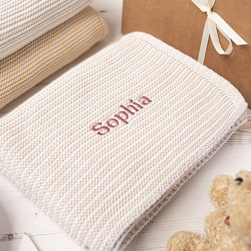 Cream & Arctic Grey Mini Stripe  Baby Blanket
