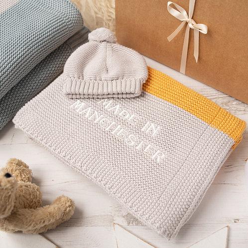 Amber & Arctic Grey Maxi Stripe Baby Blanket & Hat Set