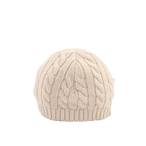 Toffee Moon Cream Cable Baby Hat cutout
