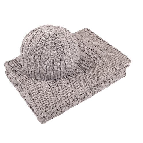 Hound Grey Cable Baby Blanket & Hat Set cut out