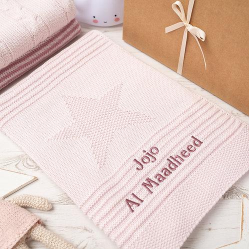Petal Pink Big Star Baby Blanket