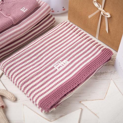 Dusky Rose & Cream Dainty Stripe Baby Blanket