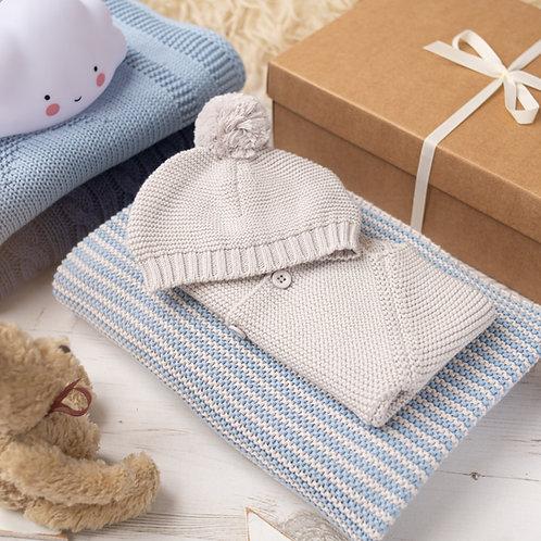 Mini Stripe Blue & Grey Knitted Gift Set