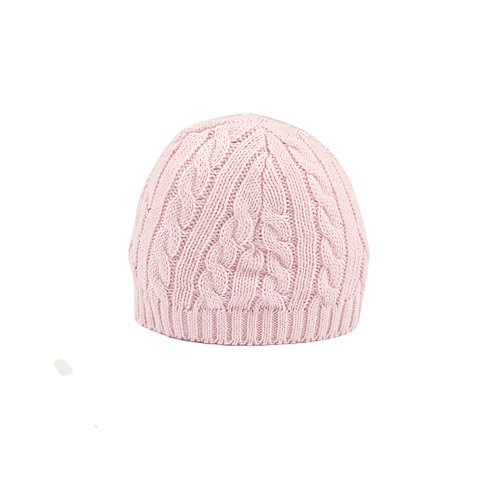 Toffee Moon Cradle Pink Cable Baby Hat cut out
