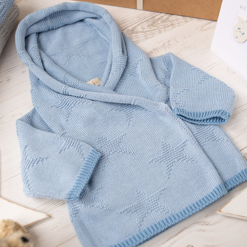 Blue Grey Star & Slate Hooded Baby Cardigan