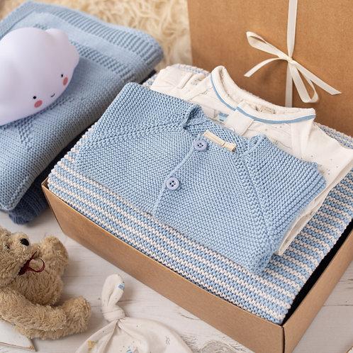 Blue Grey Mini Stripe Luxury Gift Box