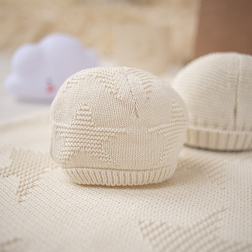 Cream Star Baby Hat & Blanket Set