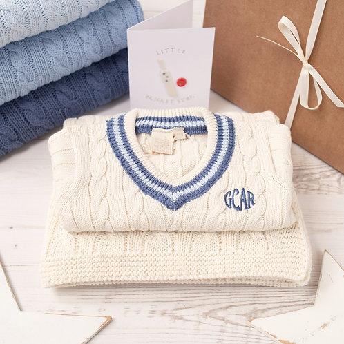 Cream Cricket Jumper & Cream Cable Baby Blanket Gift Set