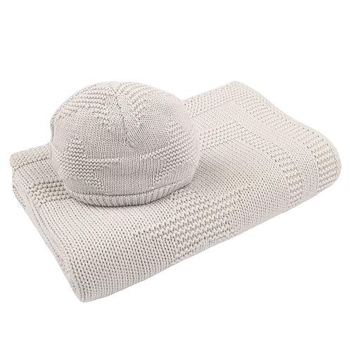 Glacier Grey Star Baby Blanket & Hat Set