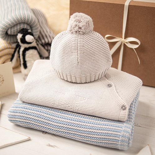 Hello Baby Blue & Grey Luxury Knitted Gift Box