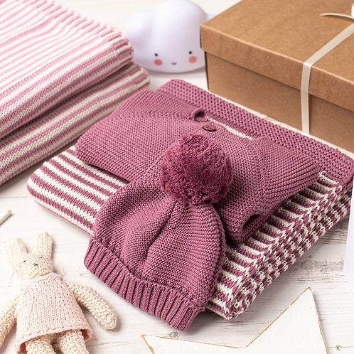 Dusky Rose And Cream Dainty Stripe Knitted Baby Gift Set