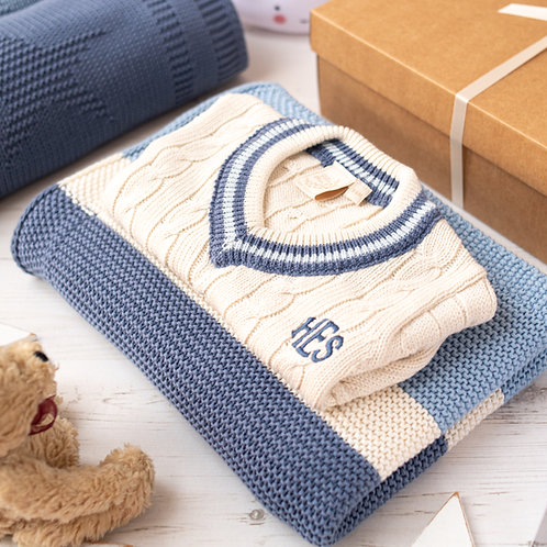 Cream Cricket Jumper and Blue Candy Stripe Baby Blanket Gift Set