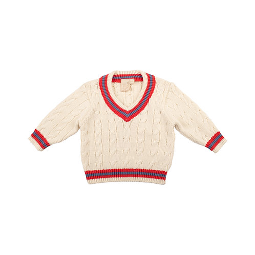 Toffee Moon Personalised Cream Baby Cricket Jumper with Red and Blue Stripes