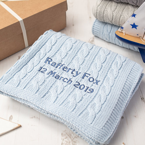 Pale Blue Cable Personalised Baby Blanket