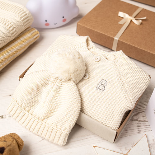 Cream Baby Bubble Cardigan and Bobble Hat Gift Set