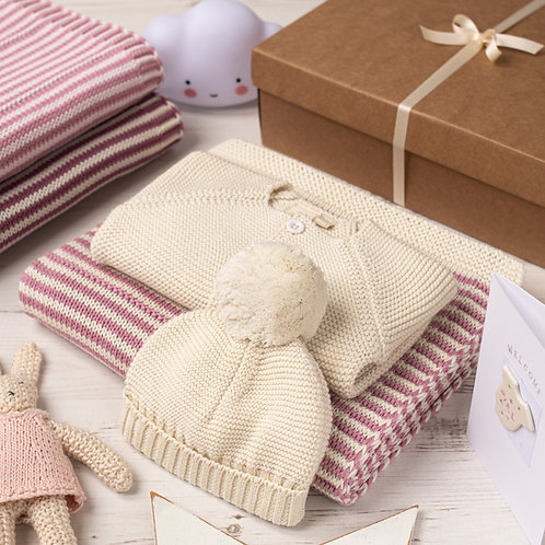 Cream And Dawn Pink Dainty Stripe Knitted Baby Gift Set