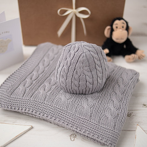 Hound Grey Cable Baby Blanket & Hat Set