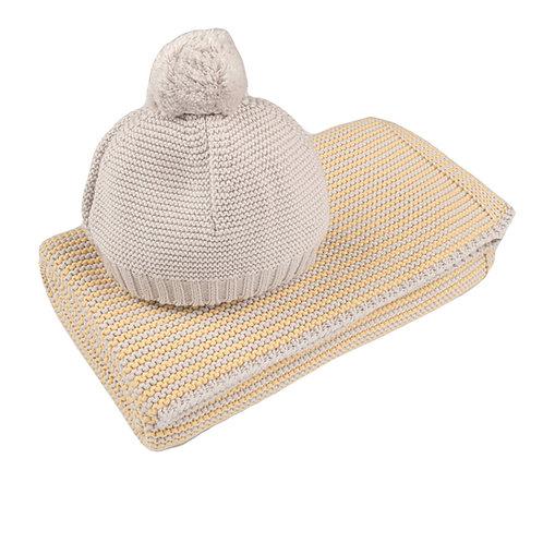 Custard Yellow & Arctic Grey Mini Stripe Baby Blanket & Hat Set cut out