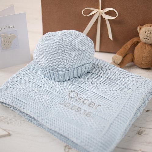 Pale Blue Bubble Baby Blanket & Hat Gift Set
