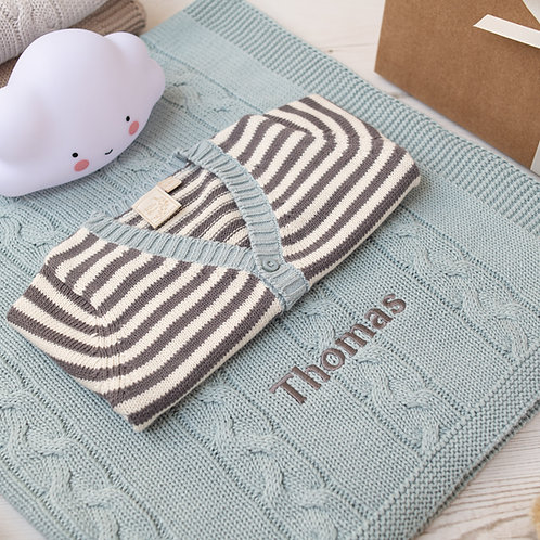 Mono Stripe Cardigan & Chunky Cable Blanket Luxury Baby Gift Set