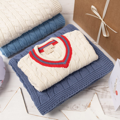 Cream Cricket Jumper with Red Stripe & Storm Blue Cable Baby Blanket Gift Set