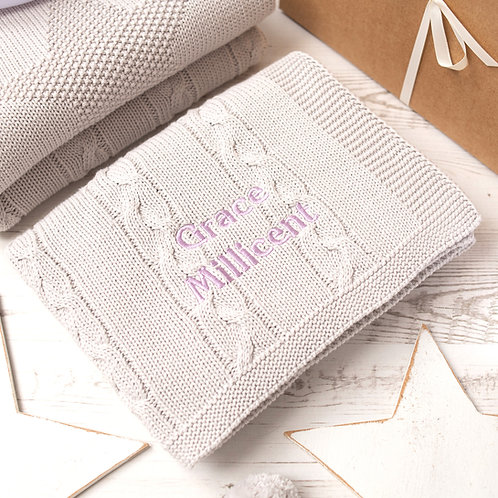 Arctic Grey Chunky Cable Personalised Baby Blanket with Purple Thistle Embroidered Name