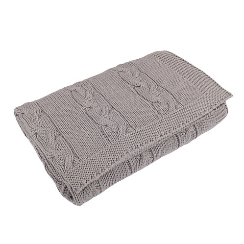 Hound Grey Chunky Cable Baby Blanket