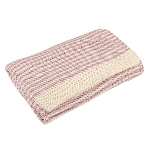 Dawn Pink & Cream Dainty Stripe Baby Blanket