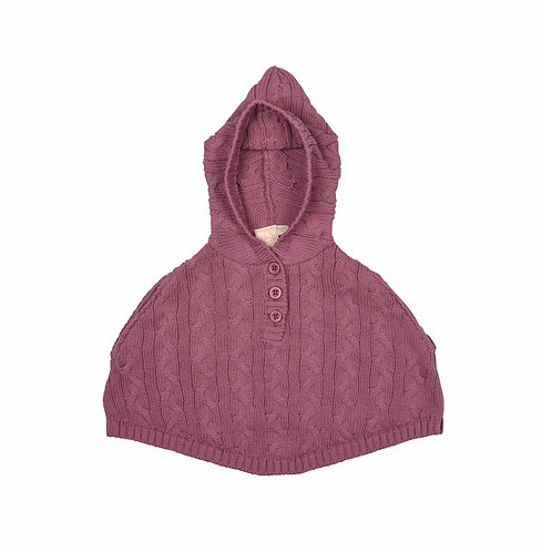 Dusky Rose Cable Baby Poncho