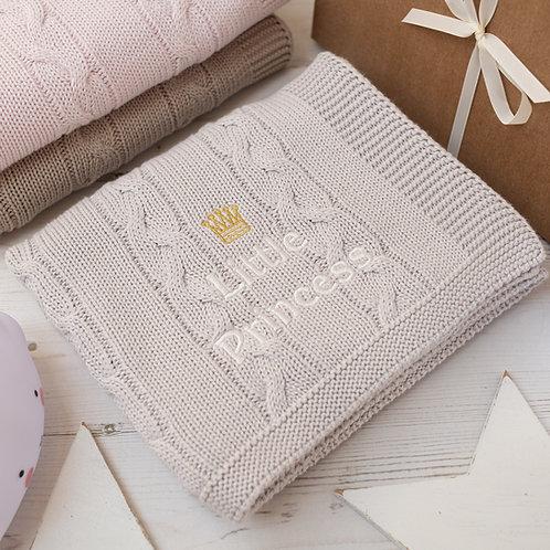 Arctic Grey  Little Princess Baby Girl Blanket