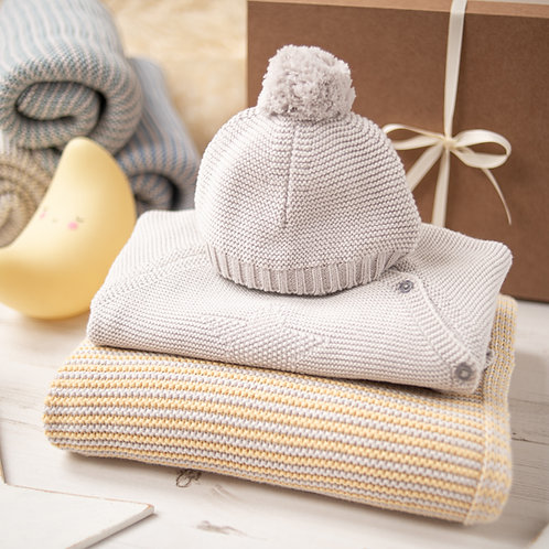 Hello Baby Custard & Grey Luxury Knitted Gift Box