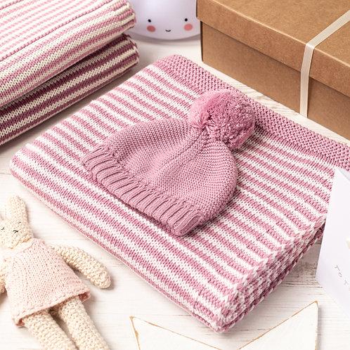 Dawn Pink and Petal Pink Dainty Stripe Baby Blanket & Hat Set