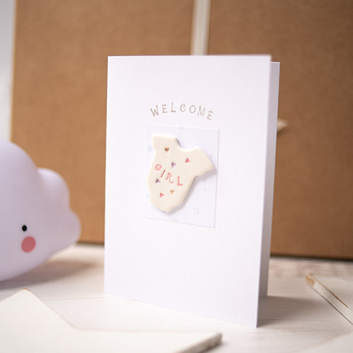 Welcome Baby Girl Handmade Ceramic Gift Card