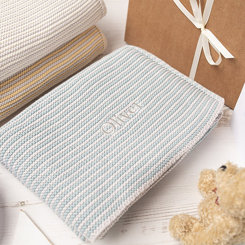Toffee Moon Aqua and Arctic Grey  Mini Stripe Personalised Baby Blanket with Pale Grey Embroidered Name