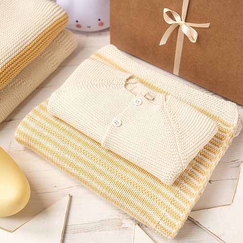 Custard and Cream Dainty Stripe Blanket & Cardigan Gift Set