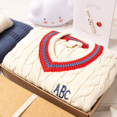 Toffee Moon Personalised Cream Baby Cricket Jumper with Red and Blue Stripes-8.jpg