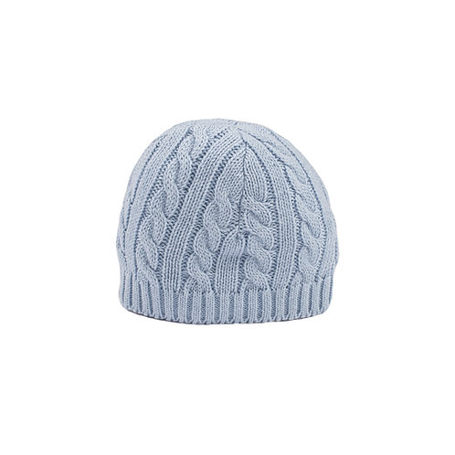Toffee Moon Blue Grey Cable Baby Hat cut out