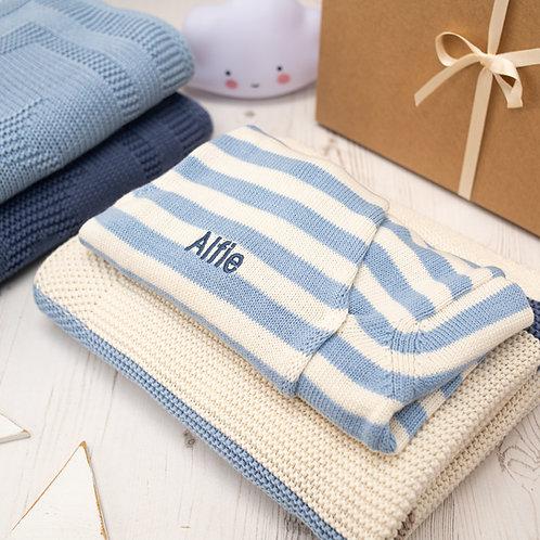Blue Ribbon Stripe Blanket and Hoodie Cardigan Gift Set