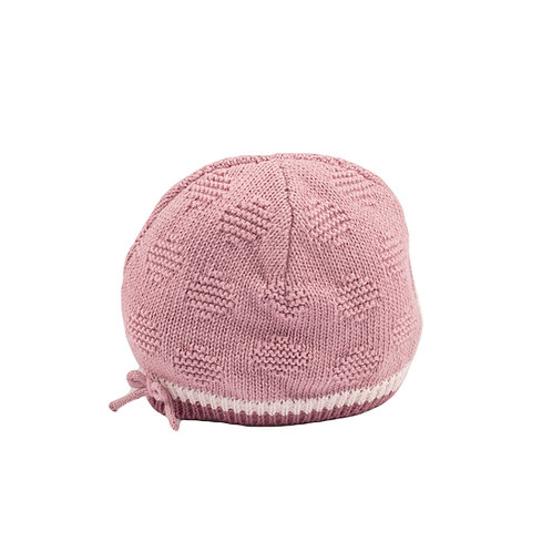Toffee Moon Dawn Pink Spot & Bow Baby Hat cut out
