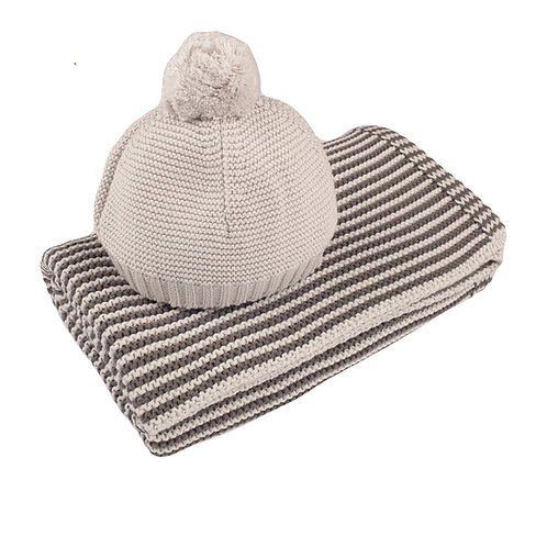 Charcoal & Arctic Grey Mini Stripe Blanket & Hat Set
