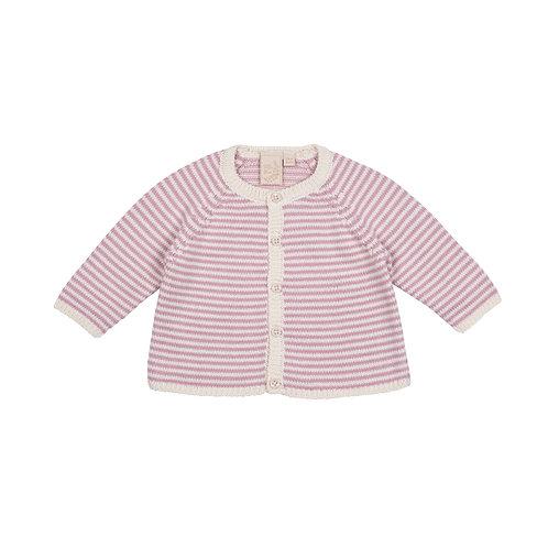 Dawn Pink & Cream Dainty Stripe Baby Cardigan