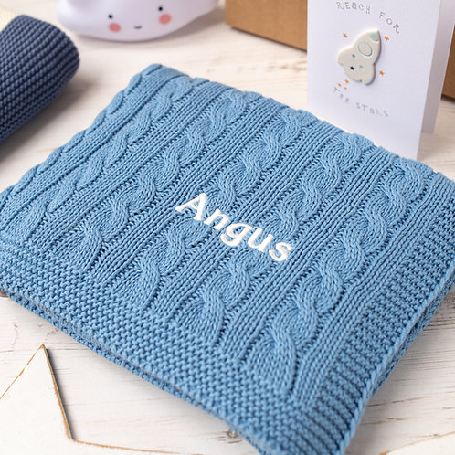 Slate Cable Personalised Baby Blanket