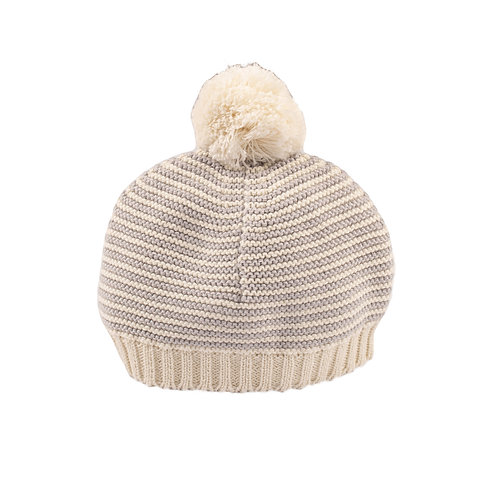 Glacier Grey & Cream Stripe Bobble Baby Hat