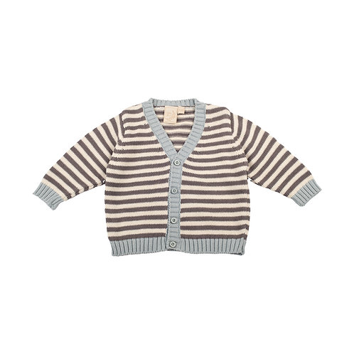 Aqua, Cream & Charcoal Mono Stripe Baby Cardigan