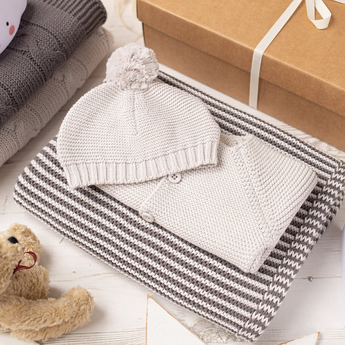 Mini Stripe Charcoal & Grey Knitted Gift Set