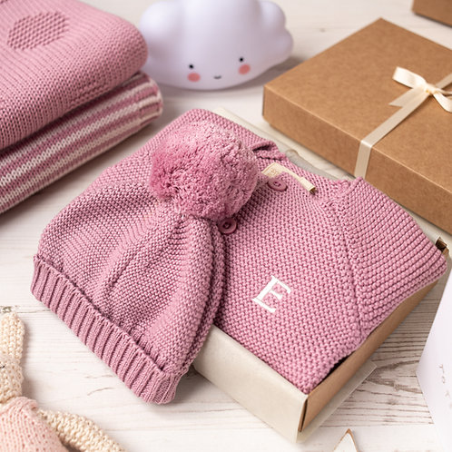 Dawn Pink Baby Bubble Cardigan and Bobble Hat Gift Set