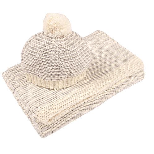Glacier Grey & Cream Dainty Stripe Baby Blanket & Hat Set